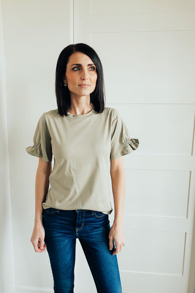 Hamilton Smocked Ruffle Sleeve Top in Sage