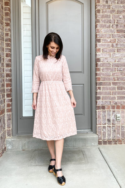 Andrea Lace Dress in Blush