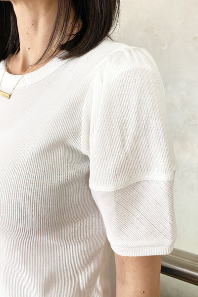Mclain Ribbed Puff Sleeve Top