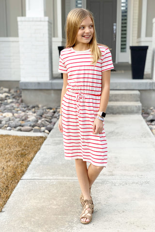 Ezra Midi Dress in White/Coral for Girls