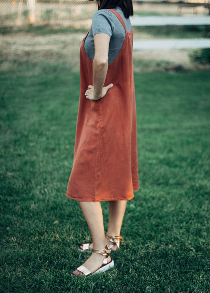 Marie Overall Dress Rust