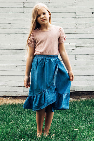Molly Tencel Denim Ruffled Skirt