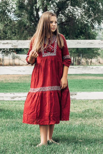 Saige Embroidered Midi Dress