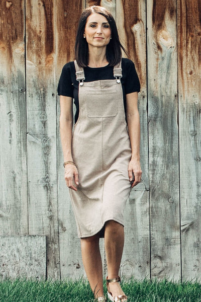 Kami Ribbed Overall Dress in Taupe
