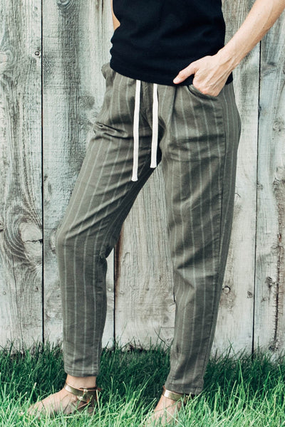 Mandie Pin Stripe Pant in Olive