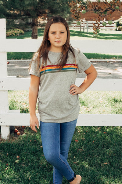 Tomi Stripe Front Tee in Sage
