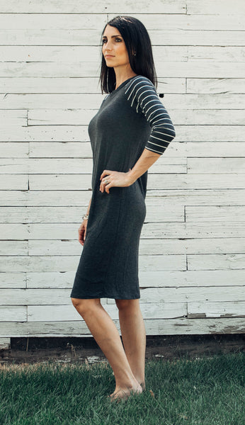 Kenzie Striped Sleeve Tee Shirt Dress in Charcoal