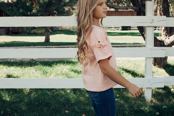 Shelby Bow Sleeve Top in Pink