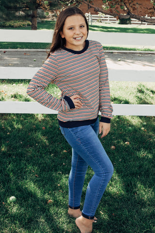 Cassie Stripe Long Sleeve in Olive