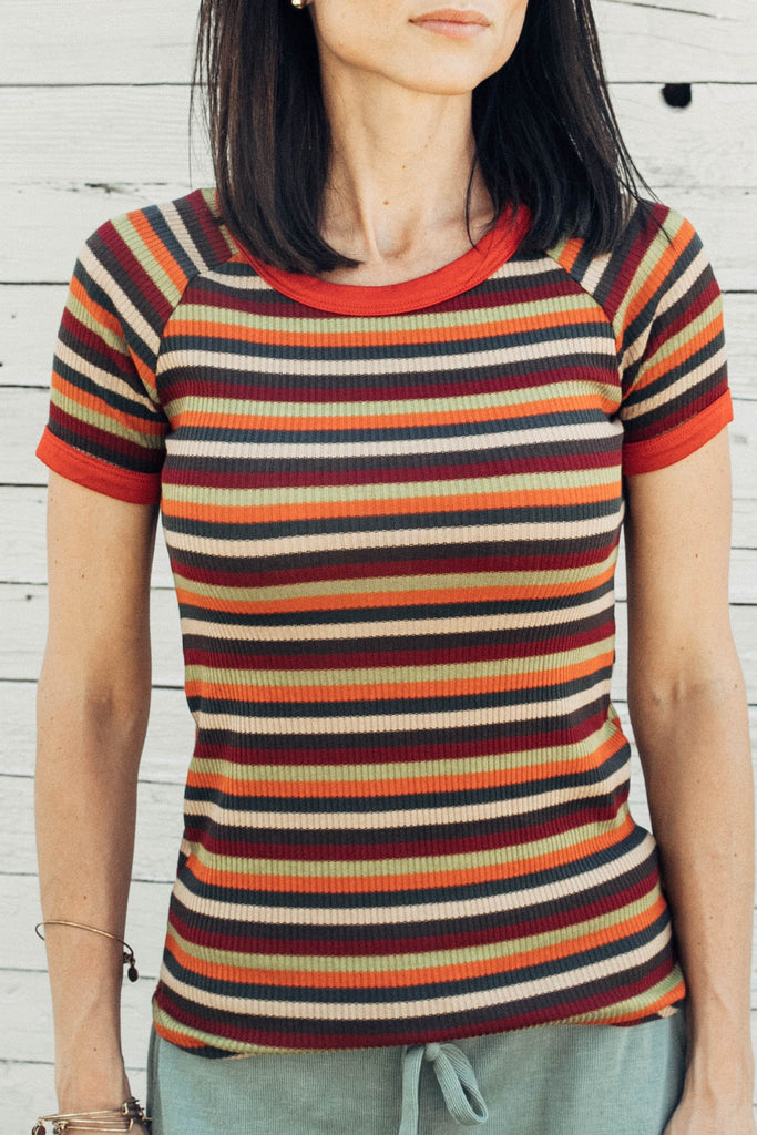 Sophie Ribbed Stripe Top in Rust