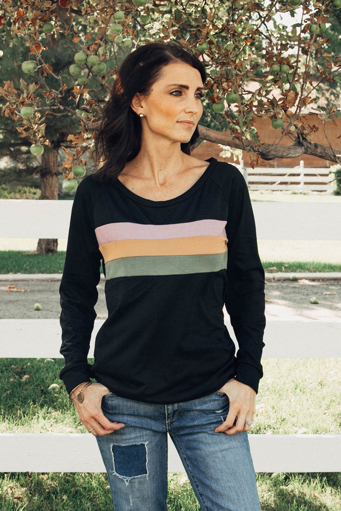 McKenna Stripe Lighweight Sweatshirt in Black