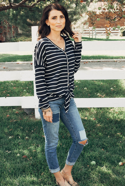Laura Stripe Button Waffle Top in Navy