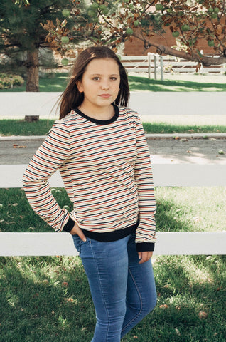Cassie Stripe Long Sleeve in Mustard