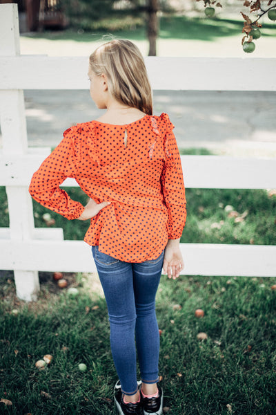 Dottie Ruffle Polka Dot Blouse