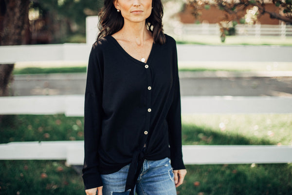 Laura Button Waffle Long Sleeve in Black