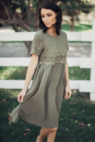Brinley Lace Dress in Olive