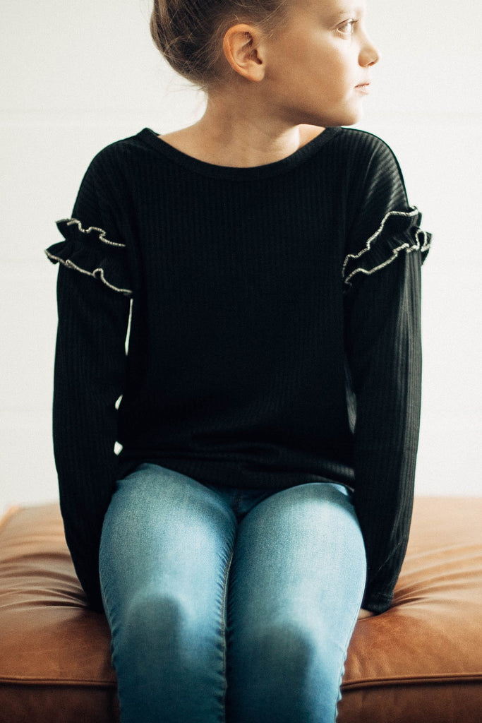 Harley Ribbed Ruffle Sleeve in Black