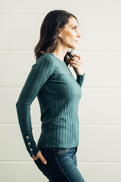 Blake Ribbed Button Detail Sweater in Teal