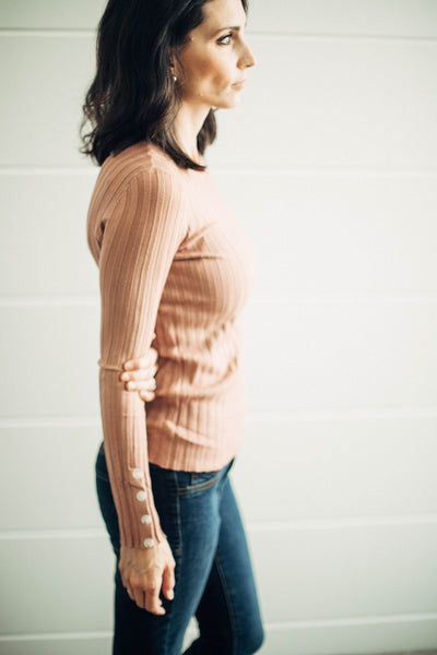 Blake Ribbed Button Detail Sweater in Dark Rose
