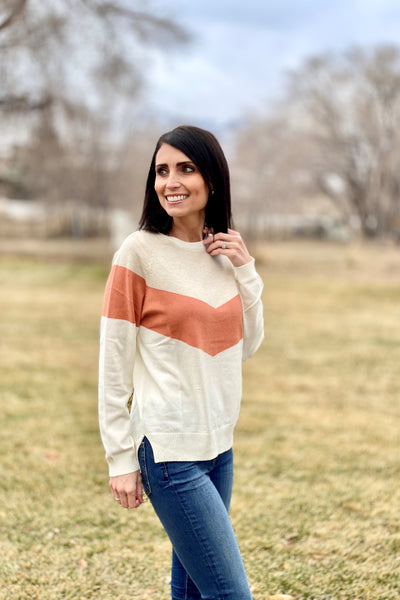 Mimi Chevron Sweater in Ivory
