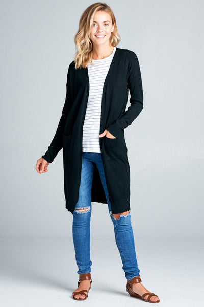 Katie Open Front Cardigan in Black