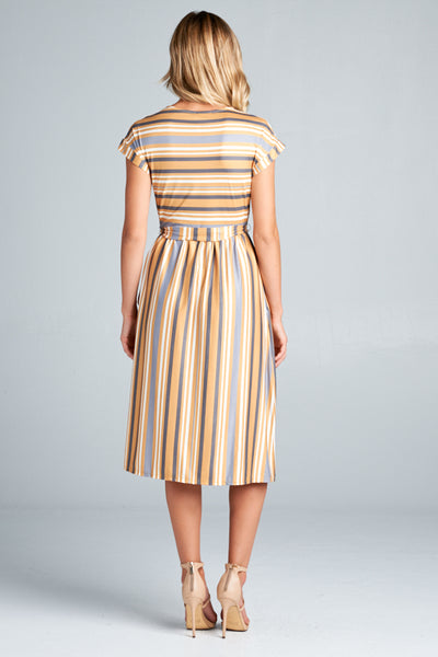 Angie Stripe Tie Waist Dress in Mustard