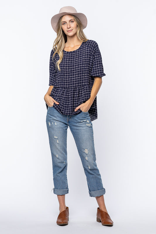 Courtney Checked Top Navy