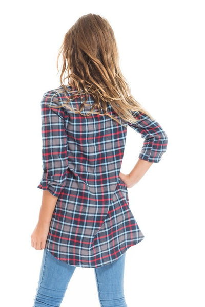 Maggie Plaid Tunic in Grey
