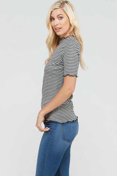 Ash Stripe Mock Neck in Grey