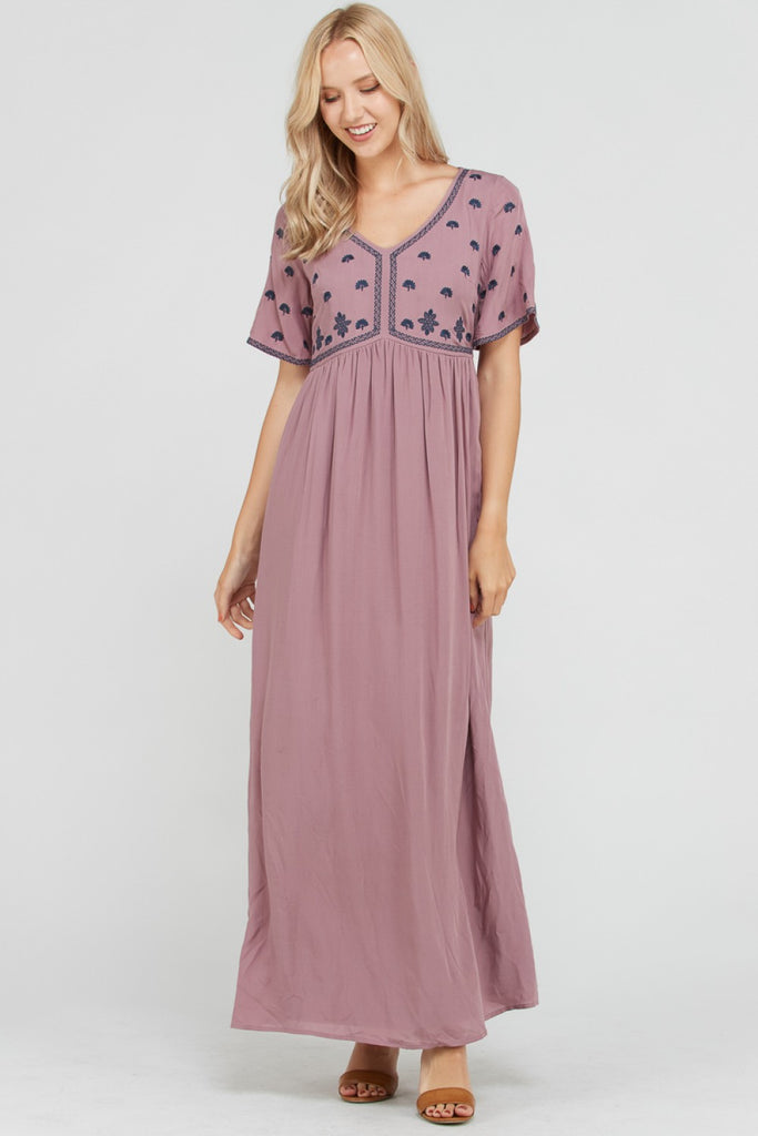 Diana Embroidered Maxi Dress in Purple