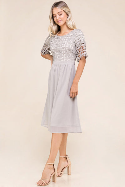 Julia Lace Top Dress in Grey