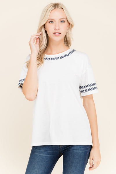 Sarianna Embroidered Top in White