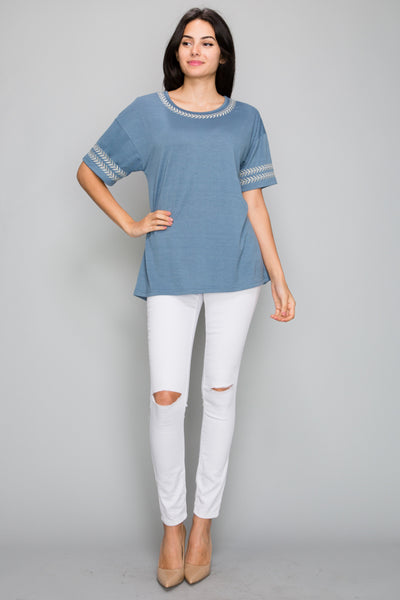 Sarianna Embroidered Top in Blue