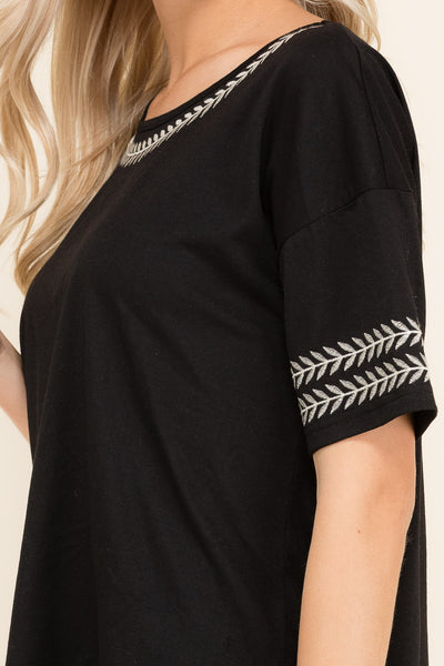 Sarianna Embroidered Top in Black