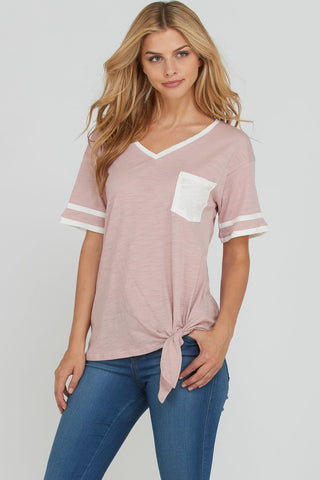 Caroline Tie Front Top in Mauve