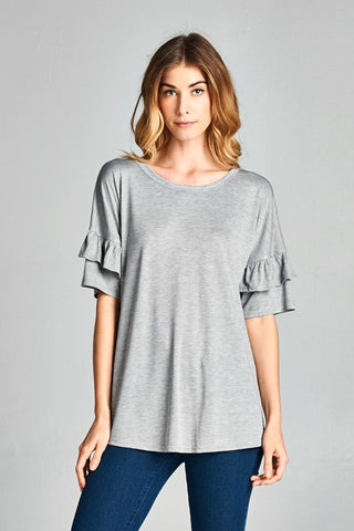 Maddie Ruffle Sleeve Top in Heather Grey