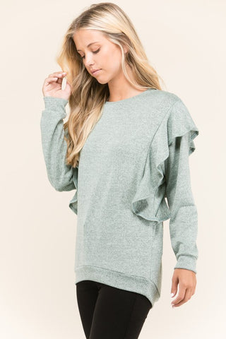 Macie Ruffled Sweatshirt in Sage