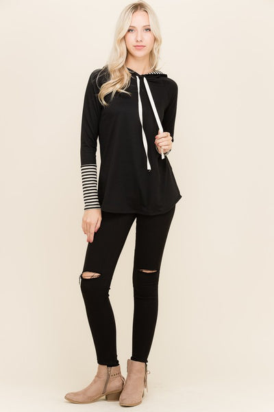 Natalie Stripe Hooded Top in Black