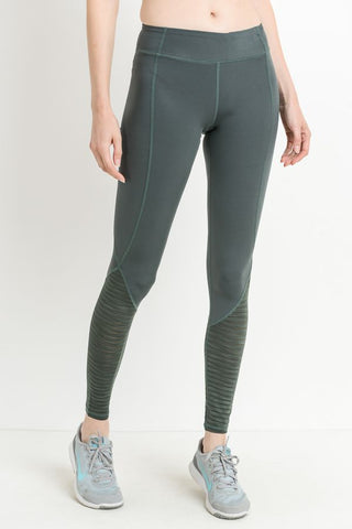 Camry Mesh Stripe Leggings in Green