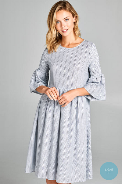 Ali Smocked Sleeve Striped Dress