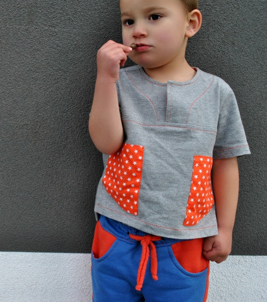 Boys shirt PDF sewing pattern for knit or woven fabric. Kieran Shirt sizes 2 - 12 years, - Felicity Sewing Patterns