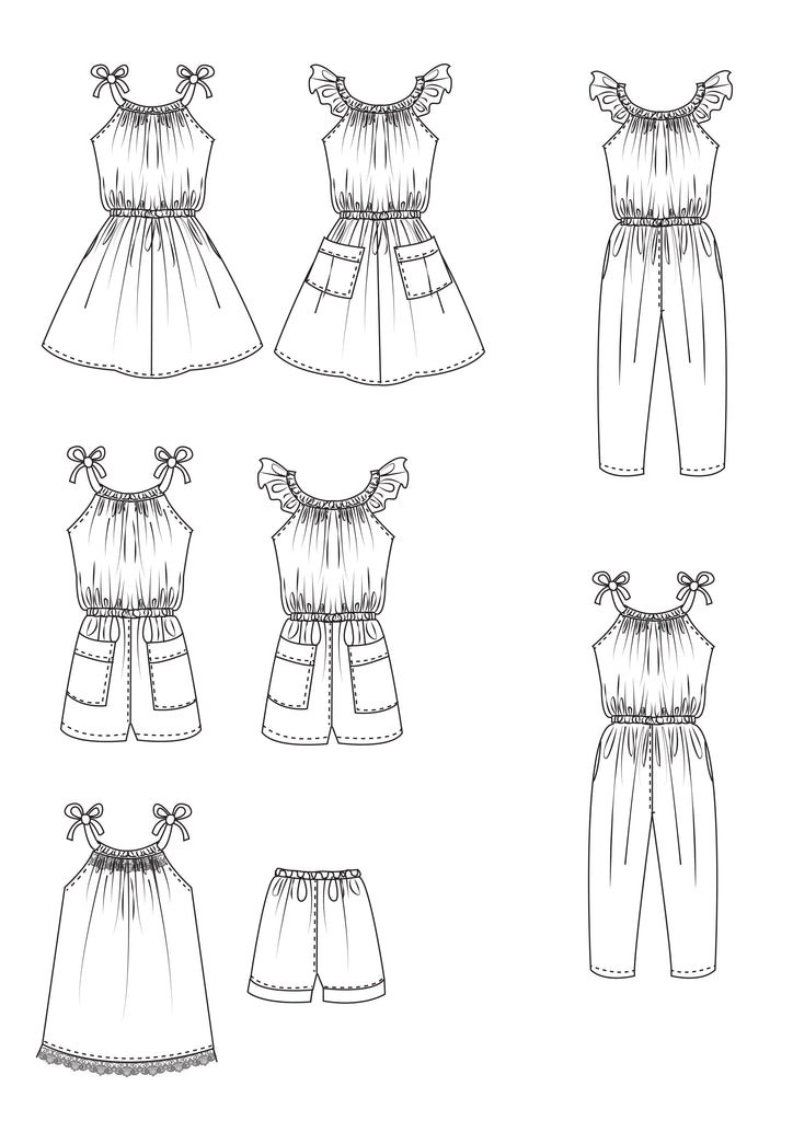 Flutter sleeve girls dress & romper sewing pattern Peachy Dress & Playsuit sizes 2-14 years - Felicity Sewing Patterns