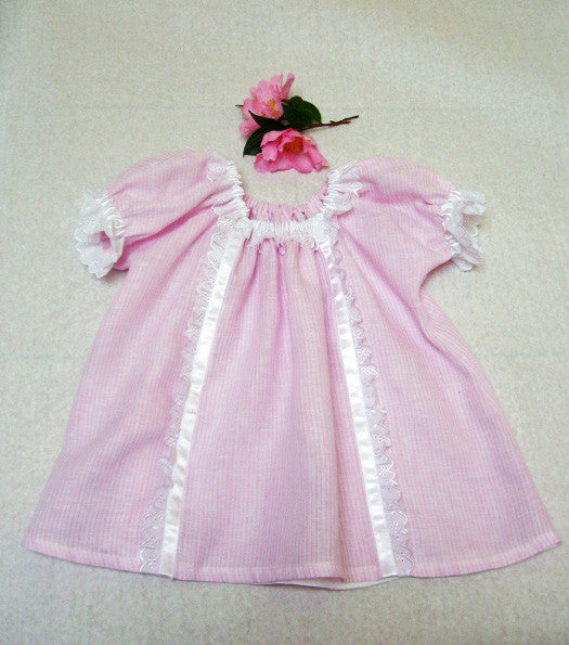 lace & ribbon trimmed baby Sweet Pea dress pattern
