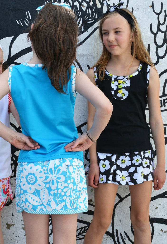 Suzie Skort pdf sewing pattern for girls skort sizes 2 to 14 years, 2 overskirt styles