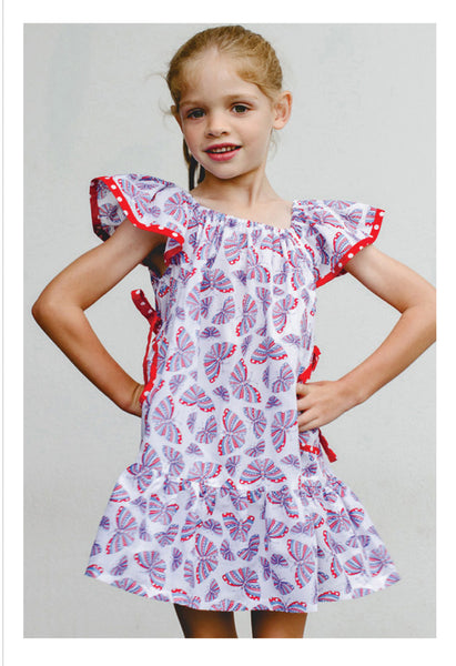 Summer ruffled Butterfly dress sewing pattern by Felicity Patterns