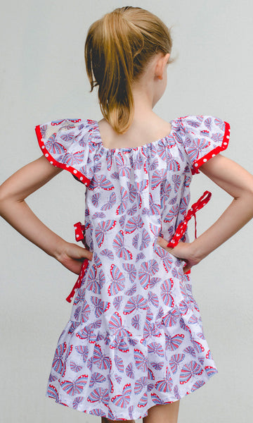 Butterfly Dress pattern with scoop pockets by Felicity Patterns