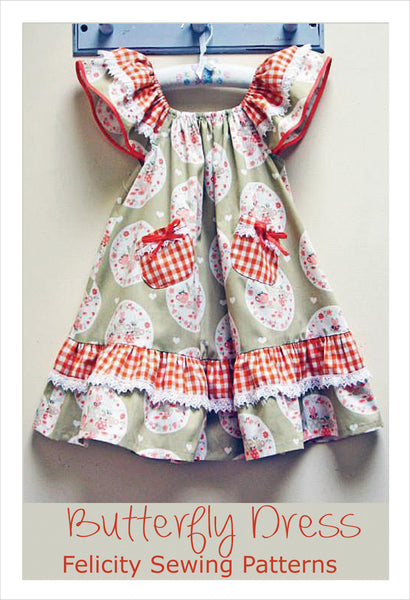 Butterfly Ruffles Dress pdf sewing pattern, girls dress pattern