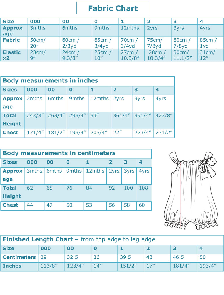 Pretty Baby Romper PDF Sewing Pattern. Charts