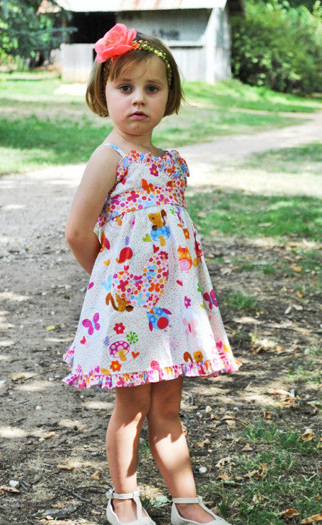 Girls sundress pdf sewing pattern Little Cup Cake Dress sizes 1 - 10 years with 2 versions - Felicity Sewing Patterns