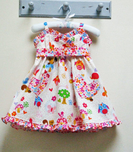 Little Cup Cake Dress by Felicity Patterns, ruffled trim version, sizes 1 - 10 years. Tutorial shows 2 versions